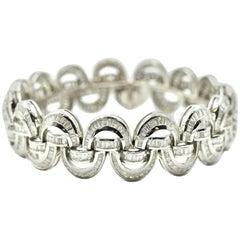 Baguette Diamond 15.00 Carats Bracelet 18k White Gold