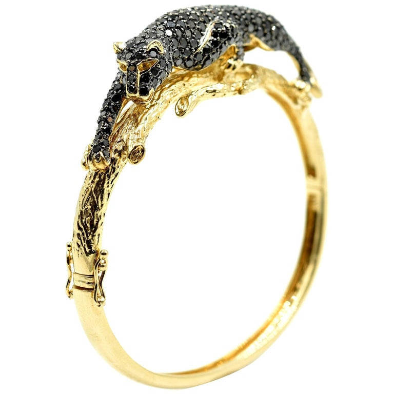 Black Diamond Panther Bangle Bracelet