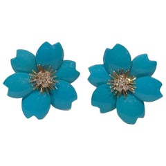 Van Cleef & Arpels Diamond and Turquoise Rose De Noel Gold Clip-On Earrings