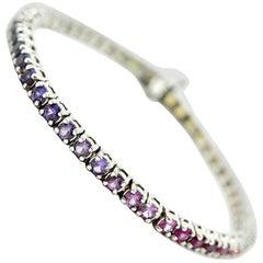 Rainbow Sapphire 6.17 Carats Bracelet 14k White Gold