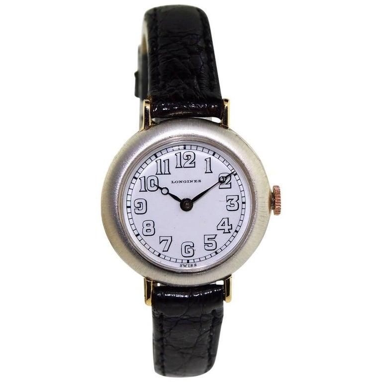 Longines Sterling Silver Art Deco Enamel Dial Manual Watch, circa 1912