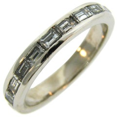 1960s Horizontal Baguette Diamond Platinum Eternity Band Ring Size 6.25