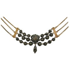 Georgian Diamond Silver Yellow Gold Necklace, French