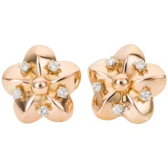 18 Karat Yellow Gold and Diamond Floral Stud Earrings