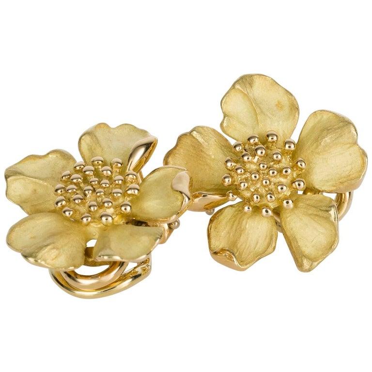Tiffany & Co. 18 Karat Yellow Gold Wild Rose Earrings