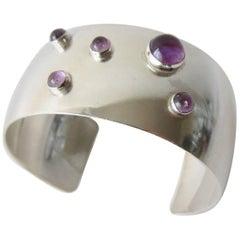 Niels Erik From Amethyst Sterling Silver Danish Modernist Cuff Bracelet