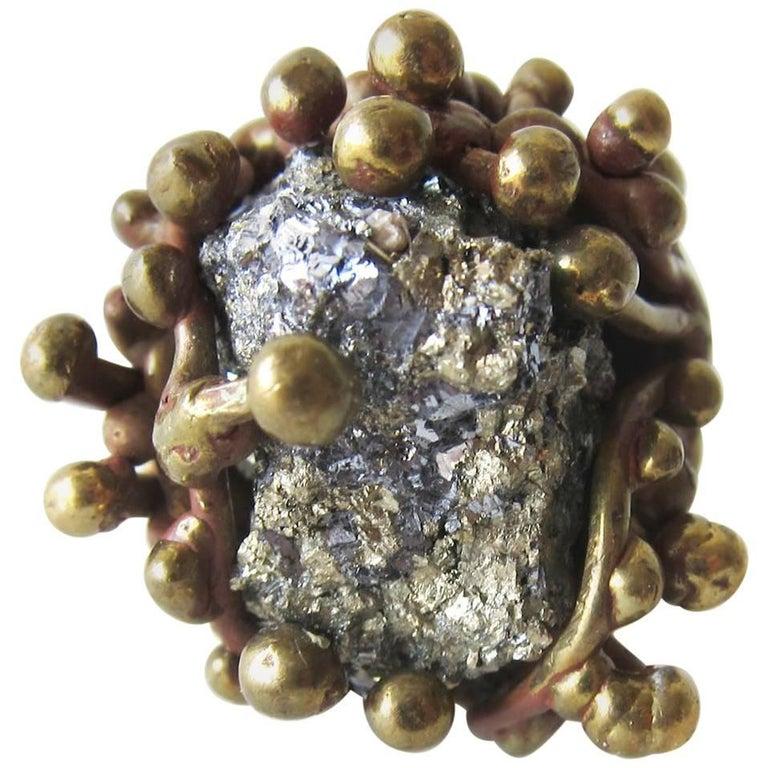 Pal Kepenyes Pyrite Bronze Brutalist Ring