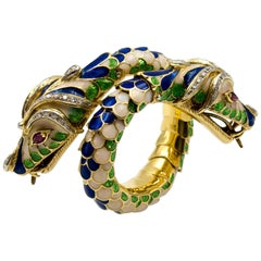 Gold Ruby Polychrome Enamel Double Headed Serpent Bangle