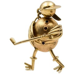 Kinetic Golfing Duck Pink Gold Charm
