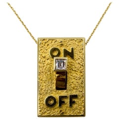 "Gold Diamond ""On/Off"" Light Switch Necklace"