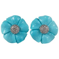 Vintage Flower Head Turquoise Diamond Earrings