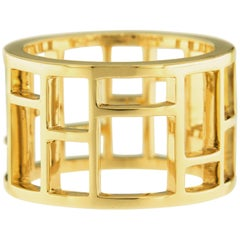 Jona 18 Karat Yellow Gold Geometric Open Band Ring