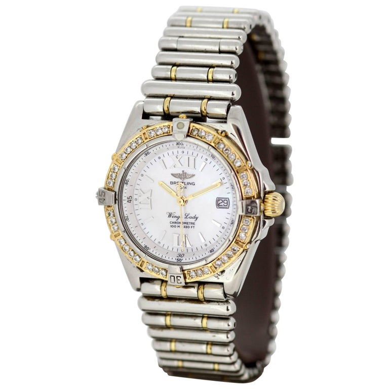 "Breitling ""Wings Lady"" Quartz, Diamond Set Bezel with Mother-of-Pearl Dial"