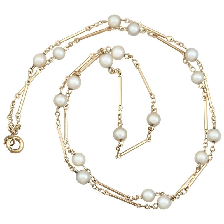 1930s Natural Pearl Yellow Gold Necklace