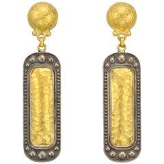 Gurhan 24 Karat Yellow and 18 Karat White Gold Rectangular Drop Earrings