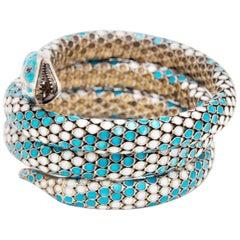 Prussian Art Deco Silver and Cloisonné Enamel Flexible Snake or Serpent Bracelet