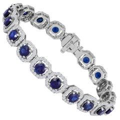 Sapphire Diamond Halo Gold Bracelet