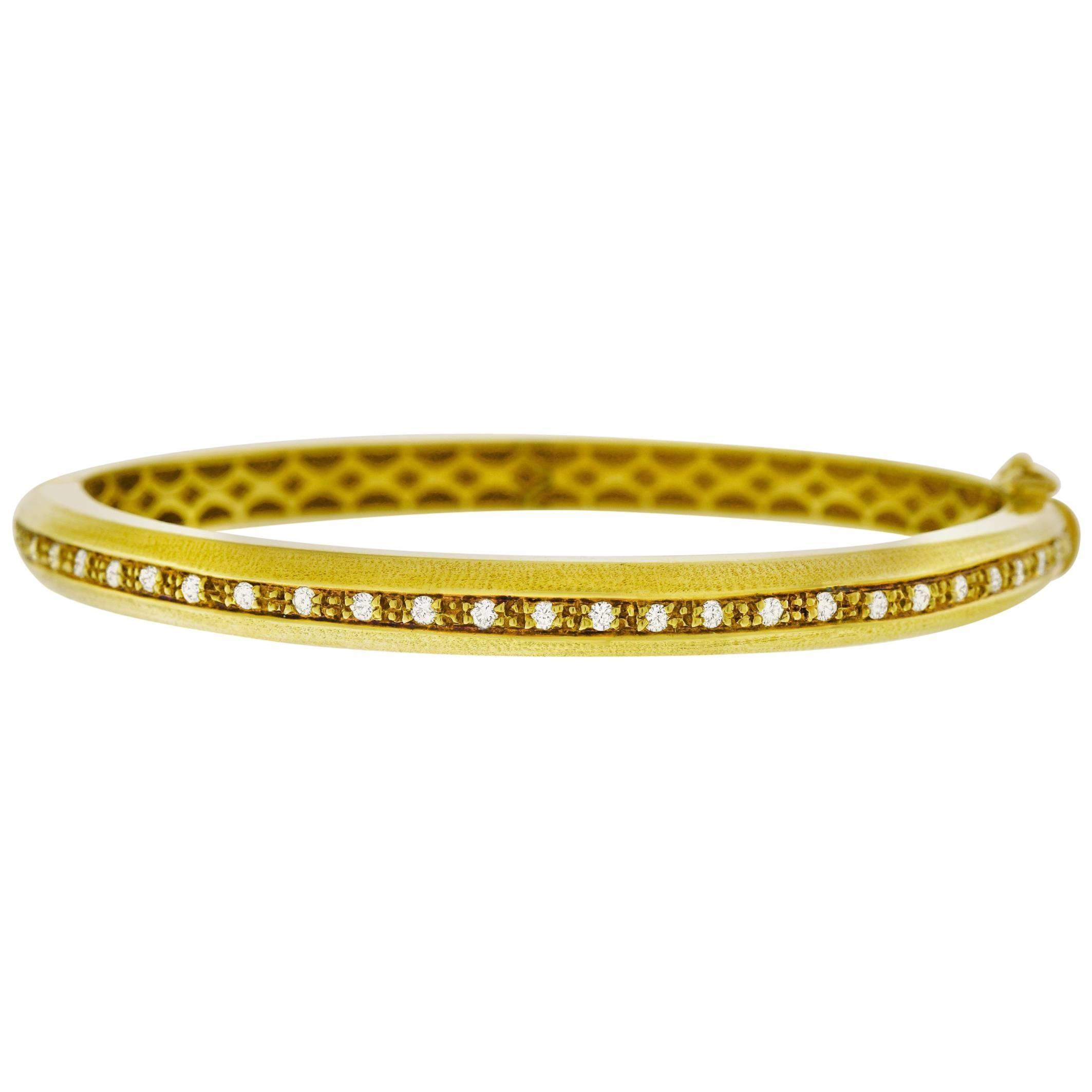 double pin women for diamond bangles real natural gold solid yellow wave
