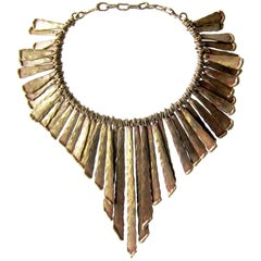 Pal Kepenyes Bronze Fringe Brutalist Necklace