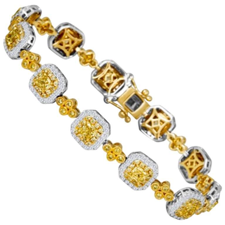 Fancy Yellow Diamond Double Halo Two-Color Gold Bracelet
