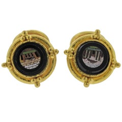 Elizabeth Locke Micro Mosaic Onyx Gold Cufflinks