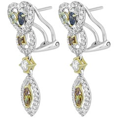 Natural Fancy Multicolor Diamond Halo Two-Color Gold Earring