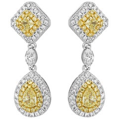 Natural Fancy Yellow Diamond White Diamond Double Halo Two-Color Gold Earring
