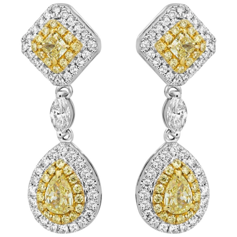 Natural Fancy Yellow Diamond Double Halo Two-Color Gold Earring For Sale