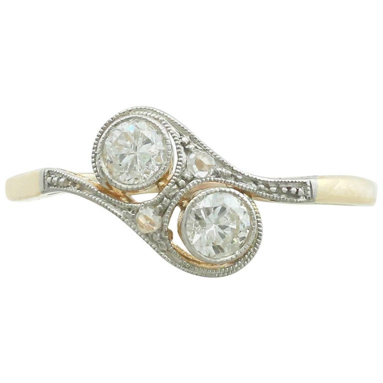 1920s Diamond and 14 Karat Yellow Gold Twist Ring