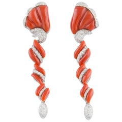 Coral Diamond White Gold Spiral Earrings