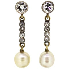 18 Karat Gold Ladies Earrings with Diamonds '0.74 Carat Total' and Pearls, 1970s