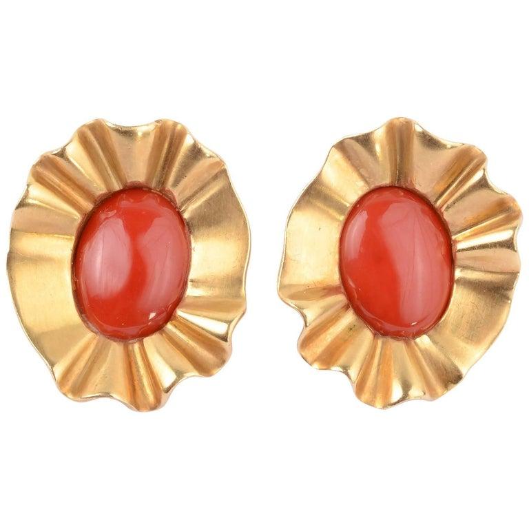 Angela Cummings Coral Gold Earrings