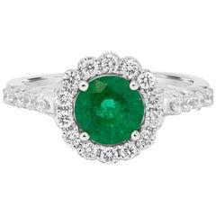 Emerald Diamond Halo Gold Bridal Ring