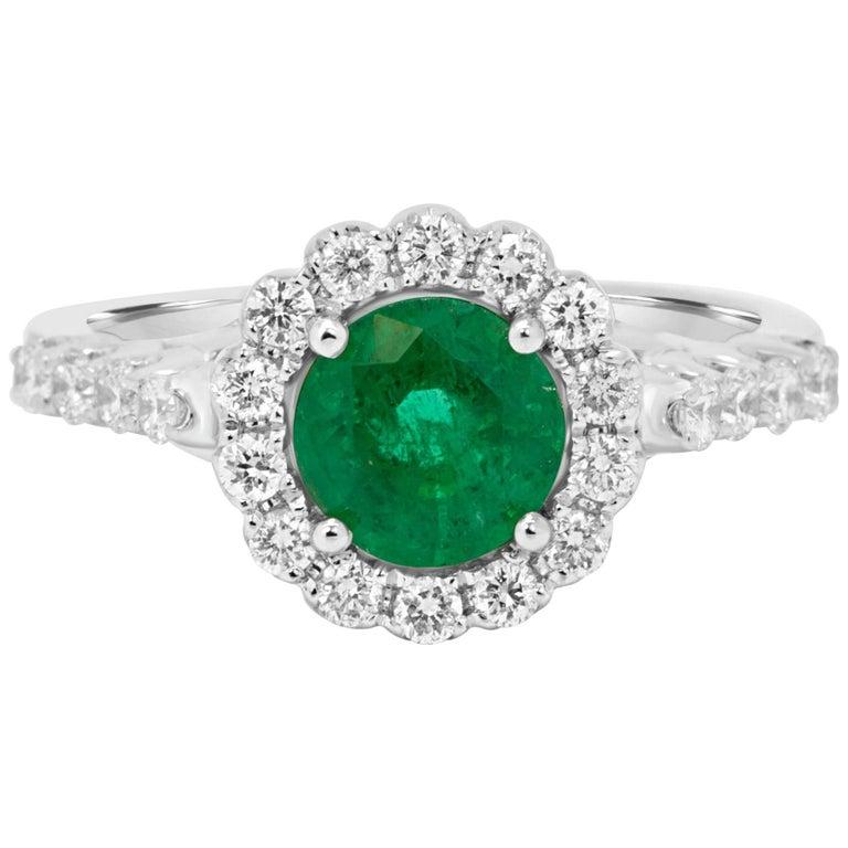 Emerald Diamond Halo Gold Bridal Ring For Sale