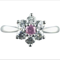 Certified Untreated Fancy Purple Diamond Platinum Cluster Ring, 2010