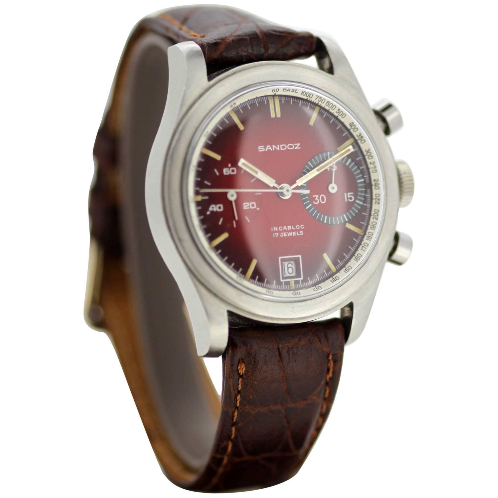 Sandoz Incabloc Vintage Chronograph Watch, Red Vignette Dial, 1960s