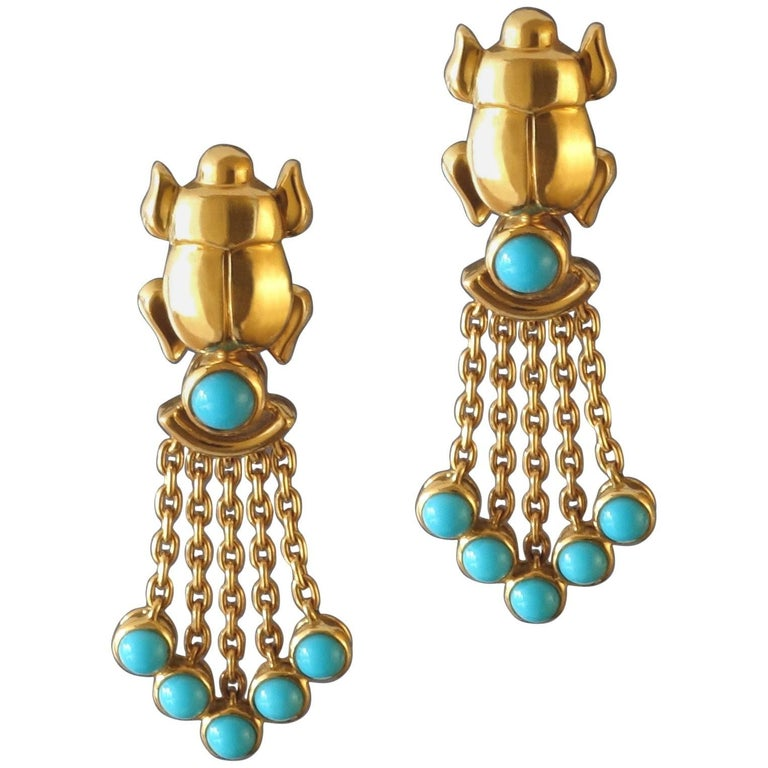 1990s Cartier Egyptian Revival Turquoise Gold Scarab Clip-On Earrings