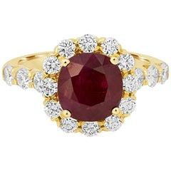 GIA Certified Burma Ruby Cushion 2.33 Carat Diamond Halo Gold Ring