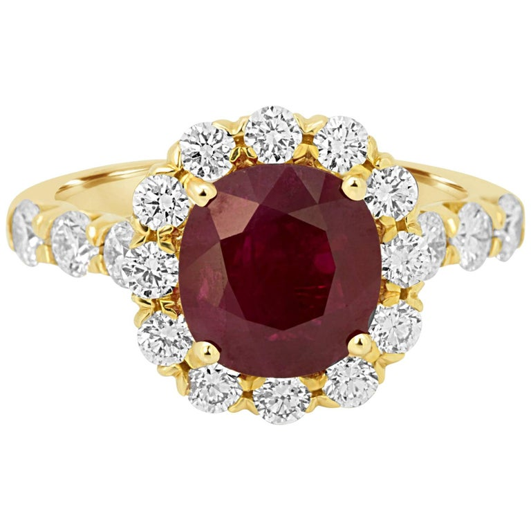GIA Certified Burma Ruby Cushion 2.33 Carat Diamond Halo Gold Bridal Ring For Sale