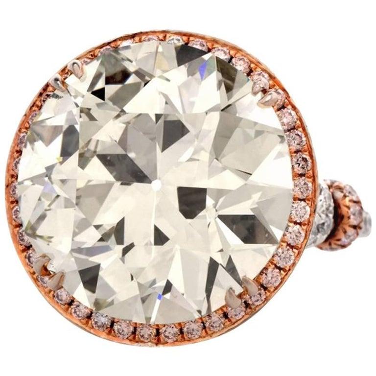 European Cut 19.32 Carat Diamond Platinum Engagement Ring