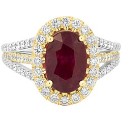 Burma Ruby Oval 2.33 Carat Diamond Halo Two-Color Gold Ring