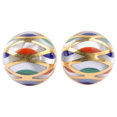 Asch Grossbardt Inlaid Stone Dome Shaped Earrings