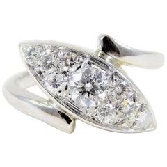 Vintage 14 Karat White Gold Diamond Cocktail Ring