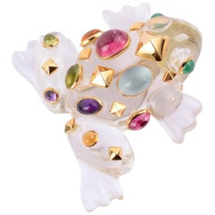 Seaman Schepps Crystal Frog Brooch with Multigems