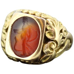 Antique 18 Karat Roman Carnelian Seal Ring '200 BC' with Victorian Ring Shank
