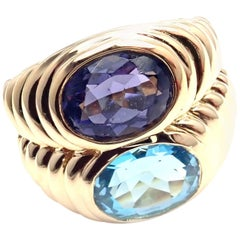 Bulgari Blue Topaz and Iolite Yellow Gold Cocktail Ring