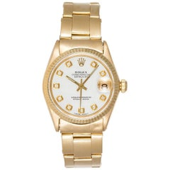 Rolex Yellow Gold Diamond Dial Mother-of-Pearl Datejust Wristwatch Ref 6624