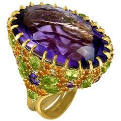 Alex Soldier Amethyst Sapphire Peridot Garnet Diamond Gold Ring One of a Kind