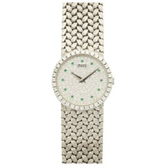 Piaget White Gold Pave Diamond Emerald Wristwatch, circa 1970s
