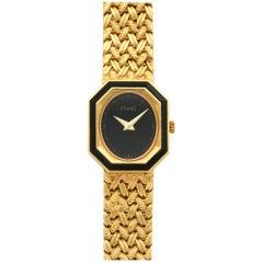 Piaget Ladies Yellow Gold Onyx Bracelet Wristwatch Ref 8341, circa 1970